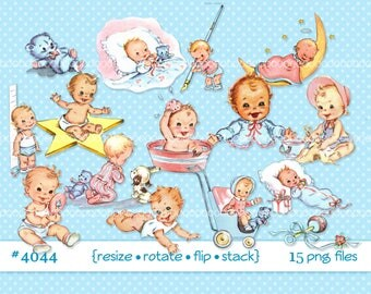 Digital Clipart, instant download, vintage baby clip art, toddlers, infant, baby boy , baby girl, baby toys, 15 printable png files 4044