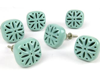vintage drawer pulls, ceramic, blue green, heavy, well made, set of 6, square, drawer knobs, stylized flower motif