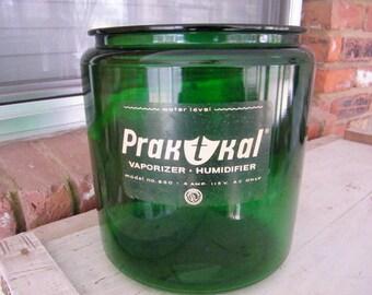 Vintage Prak-T-Kal Green Glass Vaporizer Humidifier Jar Canister Storage Repurpose