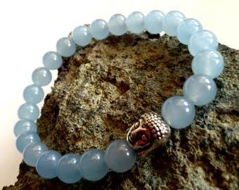 Brazilian Aquamarine Bracelet, 8 mm natural stone, Stretch Bracelet, ready to ship, gift
