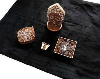 Bargain Lord Buddha Theme Set/ sacred/ nirvana/ Indian block printing stamp/ tjap/ wooden block for printing/ paper fabric printing stamp