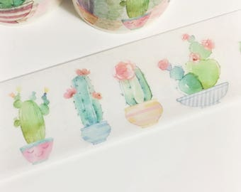 Gorgeous Watercolor Painted Multi Colored Potted Cacti Flowering Cactus Plants Washi Tape 5.5 yards 5 meters 30mm