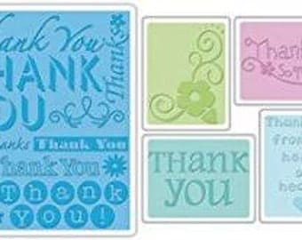 Sizzix THANK YOU SET No. 2 Embossing Folders Set of 5