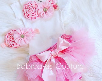 Baby Girl Tutu Outfit, Newborn Girl Outfit, Pink and White Baby Outfit, Pink Baby Outfit, Newborn Photo Outfit, Summer Baby Outfit