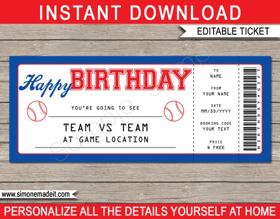 Baseball Game Ticket Birthday Gift - Surprise Ticket to a Baseball ...