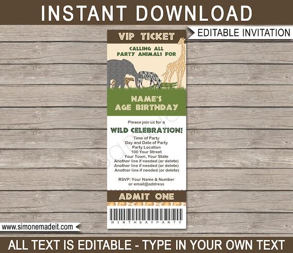 Safari party ticket invitation template zoo or animal safari il570xn stopboris Choice Image