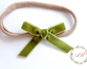 Olive Velvet Bow Headband - Olive Bow Headband - Hand Tied Bow Headband - Nylon Headband - Newborn Bow Headband