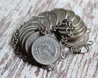 Vintage Queen Elizabeth Coin Bracelet