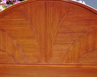 Bamboo Headboard, Vintage King Size Headboard, Free Standing Bed Headboard, 1970's Headboard, Solid Bmboo Bedroom Furniture