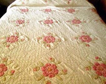 Piece of Rose of Sharon Applique Vintage Quilt, Cutter for Crafts