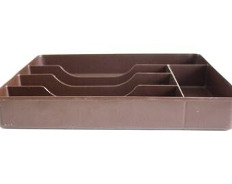 Large Cutlery Tray Flatware Organizer Brown Plastic Silverware Tray Plastic Drawer Insert 70s Kitchen #2923