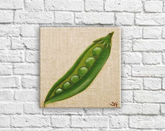 """Table """"little pea pod"""" illustration decoration French culinary flavor vegetable for country kitchen Decor shabby chic Style"""