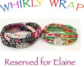 Reserved for Elaine, two Whirly Wrap bracelets, global textile twice around with Curly-Q, Liberty ribbons and silk choker / necklace