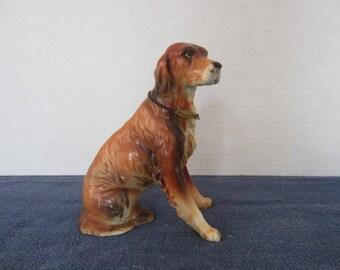 Vintage Irish Setter Porcelain Dog Figure Arnart #1831 with Foil Label & Collar