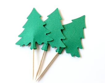 10 Green Tree Cake Toppers, Holiday Party Decor, Winter Wedding, Christmas Decor