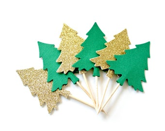 Evergreen Tree Cake Toppers, Holiday Party, Christmas Decor, Set of 10