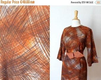 50%DISCOUNT 60s black grey rust paintbrush print wool shift day dress L/XL
