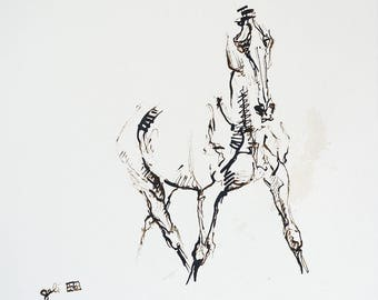 Equine Art, Animal, Modern Original Fine Art, Ink and Reed Pen Drawing of Horse on Paper, Expressive Art, Dressage Horse