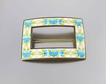 Forget me Not Victorian revival Sash Brooch, Blue Flower Brooch, painted enamel, 1930s jewelry