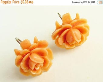ON SALE Coral Rose Celluloid Earrings 1940s signed Japan