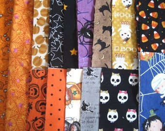 "Halloween Fabric Charm Squares - All Cotton - Quilting Scraps/5"" or 6"" Charm Squares"