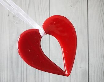 Fused Glass Open Heart Pendant/Suncatcher - 5cm x 4.5cm - Red
