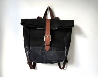 Leather and Denim Backpack - Black Repurposed Leather and Black Denim Backpack