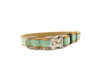 Personalized Dog Collar, Mint Blue Dog Collar