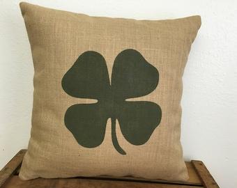Shamrock burlap four leaf clover/shamrock pillow - St Patrick's Day