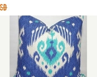 FALL is COMING SALE Blue Aqua Ikat Print Pillow Cover Ikat Throw Pillow Cover Decorative Blue Ikat Pillow Cover Size 20x20