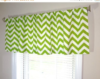 FALL Is COMING SALE Sale Curtain Valance Topper Window Treatment 53x15  Lime/White Zig Zag