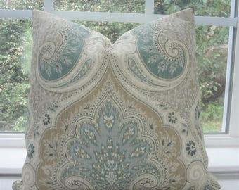 Kravet Latika Seafoam Linen Ikat Pillow Cover Green Tan Paisley Pillow Cover Choose Size