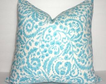 Dena Design Blue and Ivory Vine Flowers Floral Linen Pillow Cover Decorative Home Decor Size 18x18