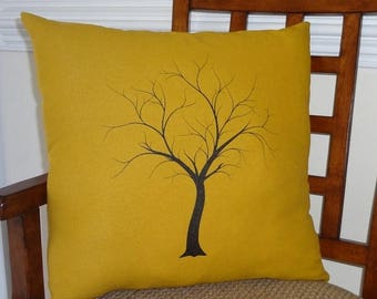 SPRING FORWARD SALE Decorative Tree Print Throw Pillow Cover on Gold Linen Black Tree on Gold 18x18