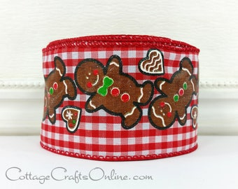 "Christmas Wired Ribbon, 2 1/2""  Gingerbread Cookies on Red Gingham Check - TEN YARD ROLL - ""Gingerbread Check"", Glitter, Wire Edged Ribbon"