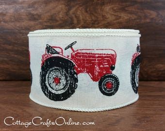 "Wired Ribbon, 2 1/2"",  Red Tractor Print, Ivory Canvas Style - TEN YARD Roll - ""Tractor Red""  Farm Print, Christmas Craft Wire Edged Ribbon"