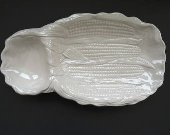 White Corn on the Cob Dish Plate by California USA Pottery - Ceramic Corn on the Cobb Holder - Gift Idea - Mid Century Modern Serving Tray