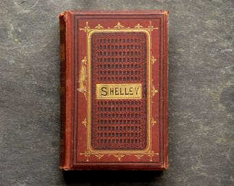Worn antique poetry book Percy Bysshe Shelley Poems vintage 1870s book of verse, British edition