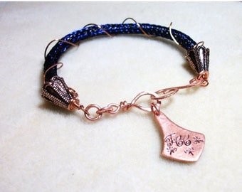 CLEARANCE SALE Viking Knit Bracelet in Copper & Navy Blue