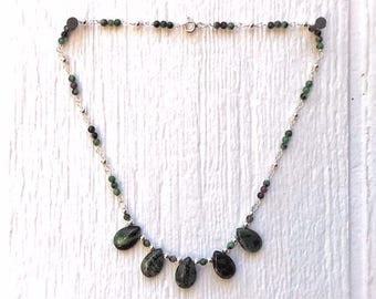 Green and Red Necklace - Ruby Zoisite Gemstone Jewelry - Sterling Silver Jewellery - Fashion