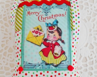 Cute Retro Inspired Christmas Decoration/Door Hanger/Hanging Pillow