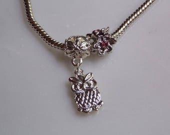 Owl Charm and Flower Charm Bracelet, Bead Charm, Pandora Style bracelet, Silver plated bracelet