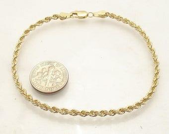 Gold Solid 14K  Rope Bracelet- 7 1/2 inch