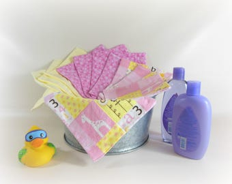 Cloth Wipes,Washcloths,Burp Cloths, Handkerchiefs, Cleaning Cloths in Pink,Yellow, & Giraffe Prints Set of 12