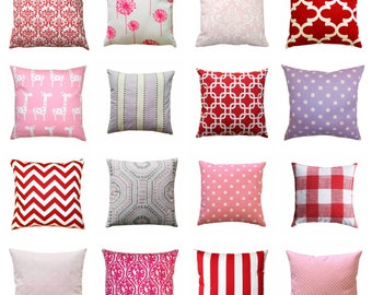 Throw Pillow Case, Red Pillow Cover, 16x16 Zippered Pillow, Pink Cushion Cover, Purple Sofa Pillows, Red Throw Pillow Decor, Baby Girl Decor