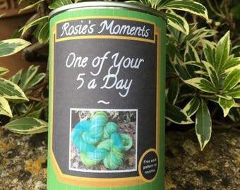 """One of your """"5"""" a day . Yarn in a can ' greengage  """""""