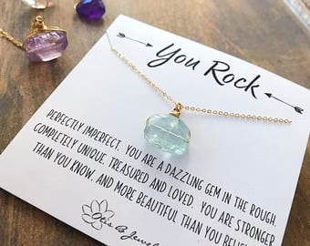 You Rock, natural freeform gemstone necklace, inspirational message card, bridesmaids gift, best friends sisters meaningful Otis B
