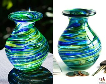 Small Hand Blown Glass Vase - Bulbous Shape with Blue and Metallic Green Swirls