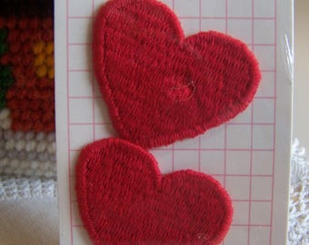 "2 Red Heart Appliques Sew-On 1-5/8"" NIP"