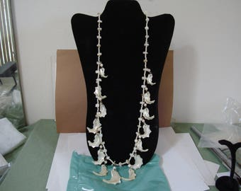30 inch CARVED ABALONE SHELL necklace with carved shell ears.  1960's piece. Please see description area for more details